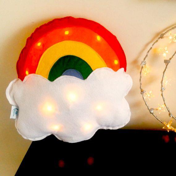 Rainbow Light Cushion Fairy Light Rainbow by ButtonOwlDesign