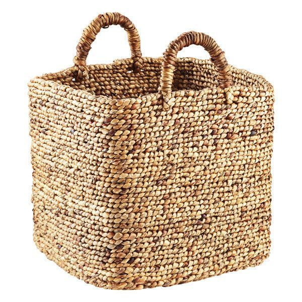 Braided Water Hyacinth Storage Cube with Handles (€38) ❤ liked on Polyvore featuring home, home decor, small item storage, stackable storage bins, woven bin, stackable bins, woven storage bins and storage bins