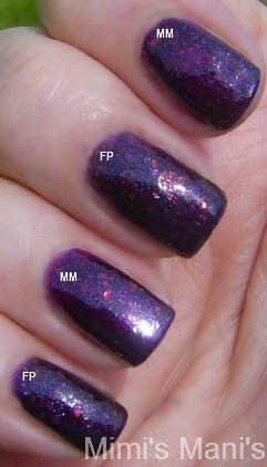 comparison between Orly Fowl Play and OPI Merry Midnight