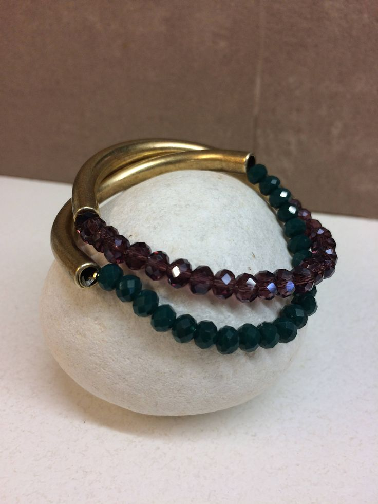 Christmas racelet/bronze bracelet/ stones/personalized gift/set of two/christmas gift/gift for mom/brass/gift for her/gold bracelet by MOMADjewels on Etsy