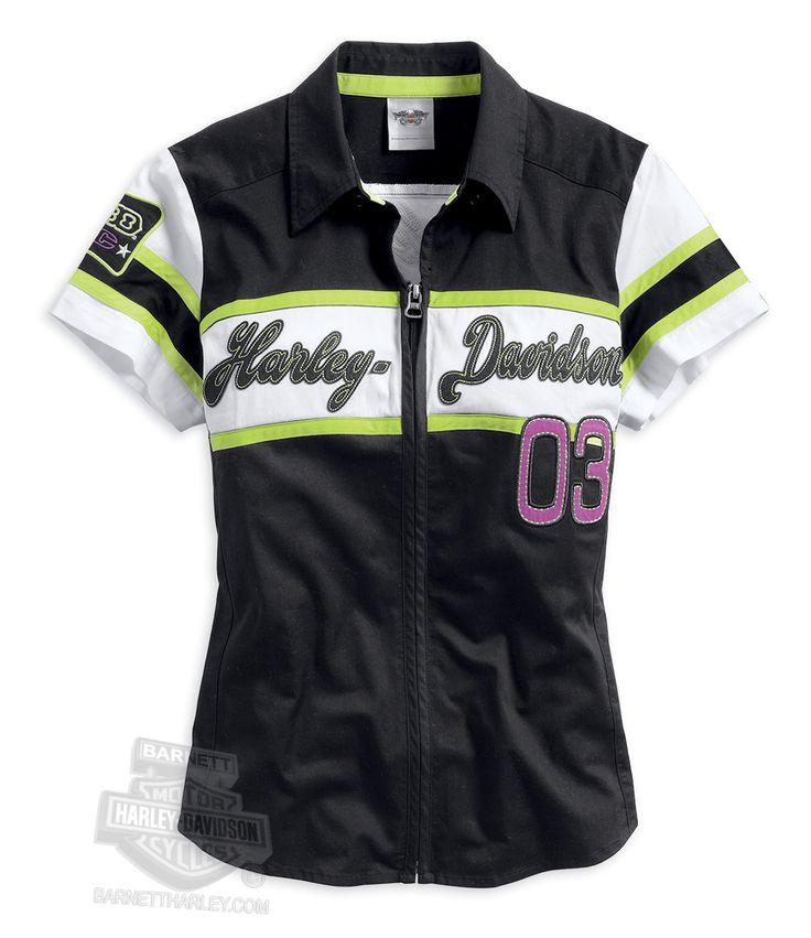 Harley-Davidson® | 96155-14VW | Harley-Davidson® Womens Colorblocked Zipper Front with Wings Graphic Black Short Sleeve Woven Shirt