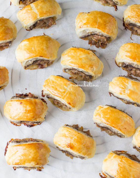 Saucijzenbroodjes met Champignons en Gebakken Ui - Nombelina.com