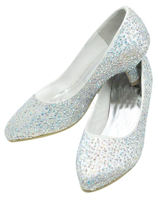 Chaussures de mariée à talons en soie mélangée de satin cloutée avec strass