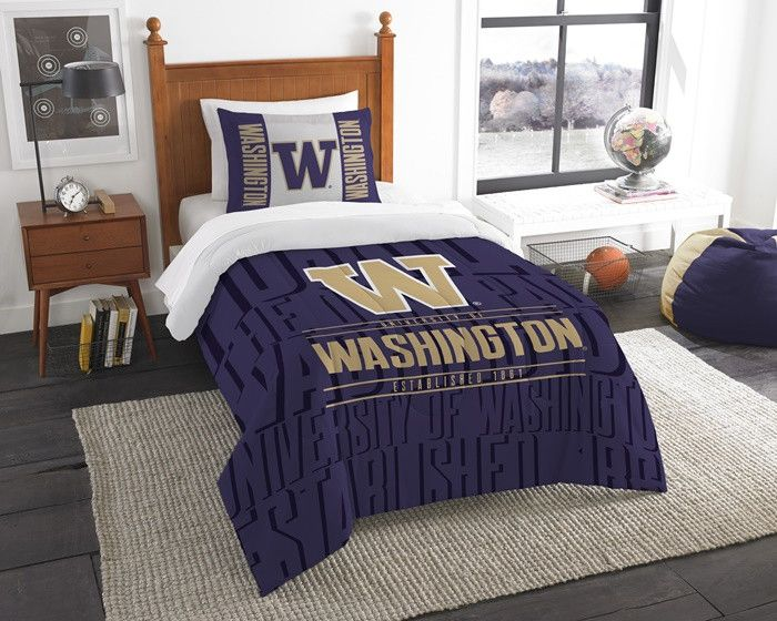 Washington Huskies Modern Take Twin Comforter Set.  Includes 1 Sham and 1 Twin Comforter. Visit SportsFansPlus.com for Details.