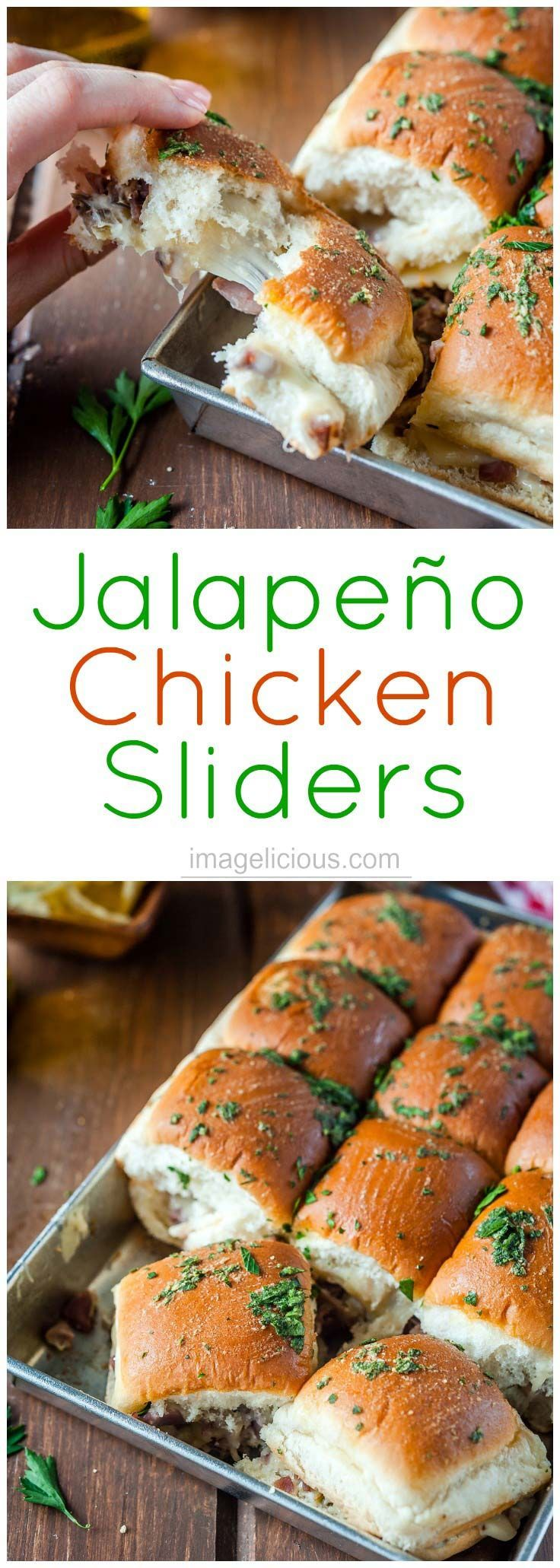Jalapeno Chicken Sliders are an ultimate lunch, dinner, or party treat! Easy and quick to make with leftover chicken. Cheesy, salty, spicy, delicious | Imagelicious