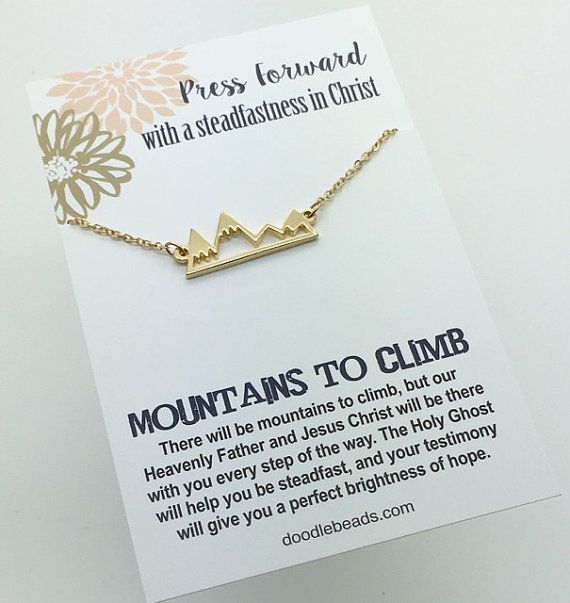 Press Forward -2016 Mutual theme - Mountain Necklace - Gold Bar Mountain Necklace - choose carded Mountains to Climb or in a silver gift box