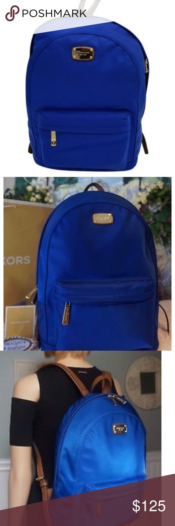 Michael Kors Jet Set Large Backpack In the color electric blue! Only used this backpack for once semester. In nearly perfect condition. No marks. The backpack is currently home while I'm at school. I️ can upload pictures of the backpack this weekend (got these pictures online to show what the bag looks like) Michael Kors Bags Backpacks