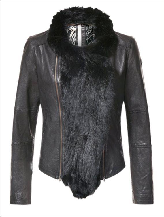 Γυναικείο δερμάτινο μπουφάν με προασθαφαιρούμενη γούνα lapin   Μοντέλο: AMALIE Δέρμα: black nappa  Τιμή: 327€