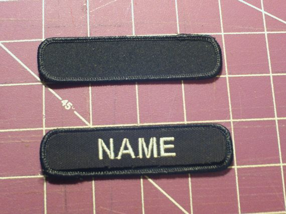 """Custom Embroidered Name Patch, Black 1"""" x 4""""  -  Made in the USA"""
