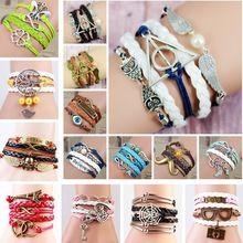 2015 multilayer gevlochten armbanden vintage uil harry potter vleugels oneindig armband, multicolor geweven lederen armband& armband(China (Mainland))