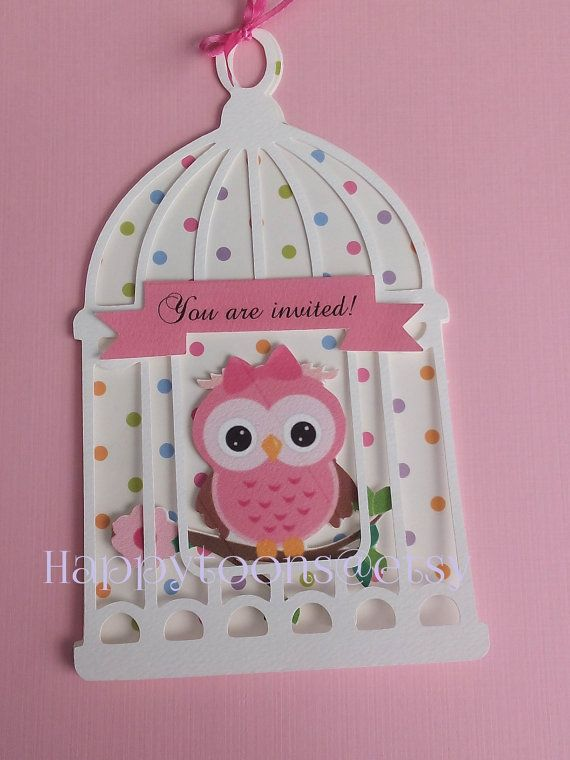 Beautiful babyshower Owl invitations by HappyToons on Etsy