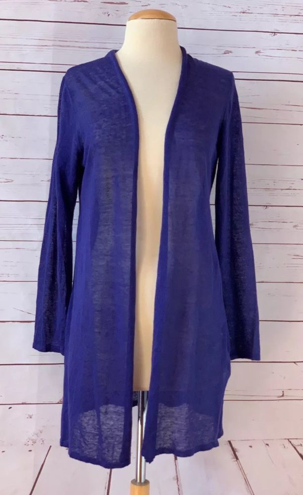 321bd241f0b EILEEN FISHER Size XS Organic Linen Blend Knit Cardigan Sweater Blue   EileenFisher  CardiganSweater