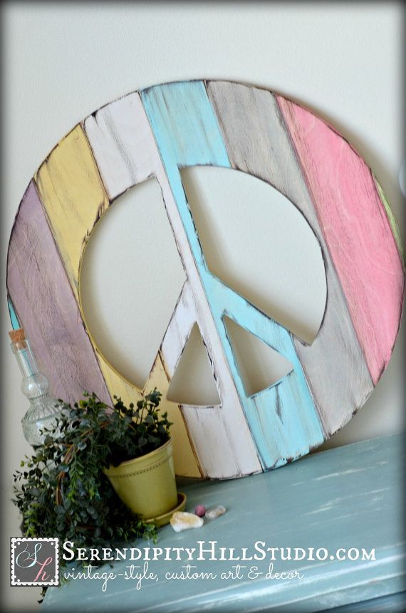 peace sign, wood distressed, aged, handpainted in your choice of size and color