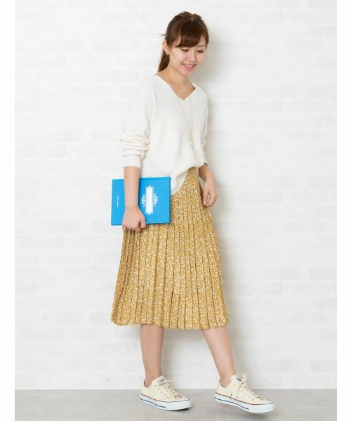 NATURAL BEAUTY BASIC(ナチュラルビューティベーシック)の「◆フラワープリントプリーツスカート(スカート)」 詳細画像