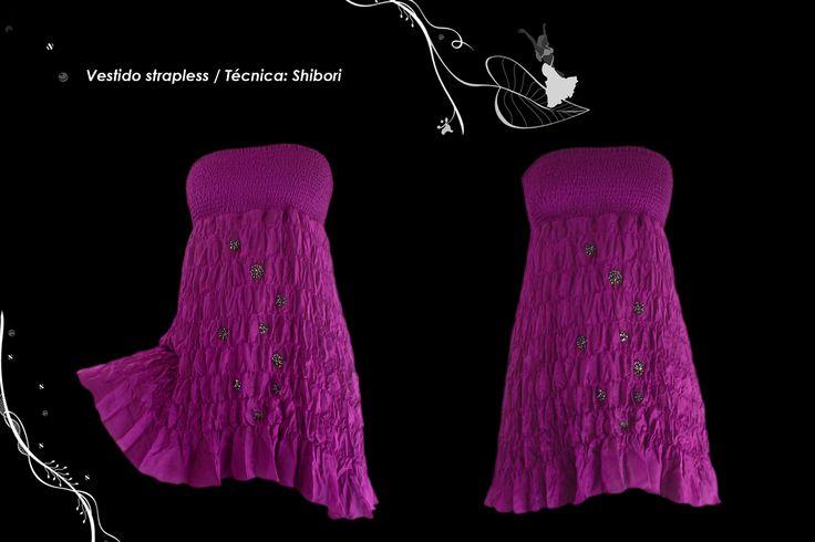 Vestido corte imperio top elasticado falda textura shibori plegada.