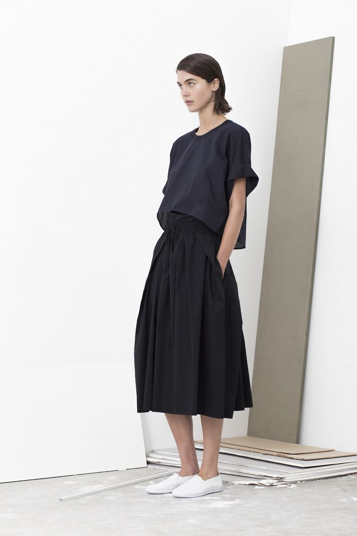 Macy double layered shirt top worn with Poste full skirt with draw-string waist and seam pockets