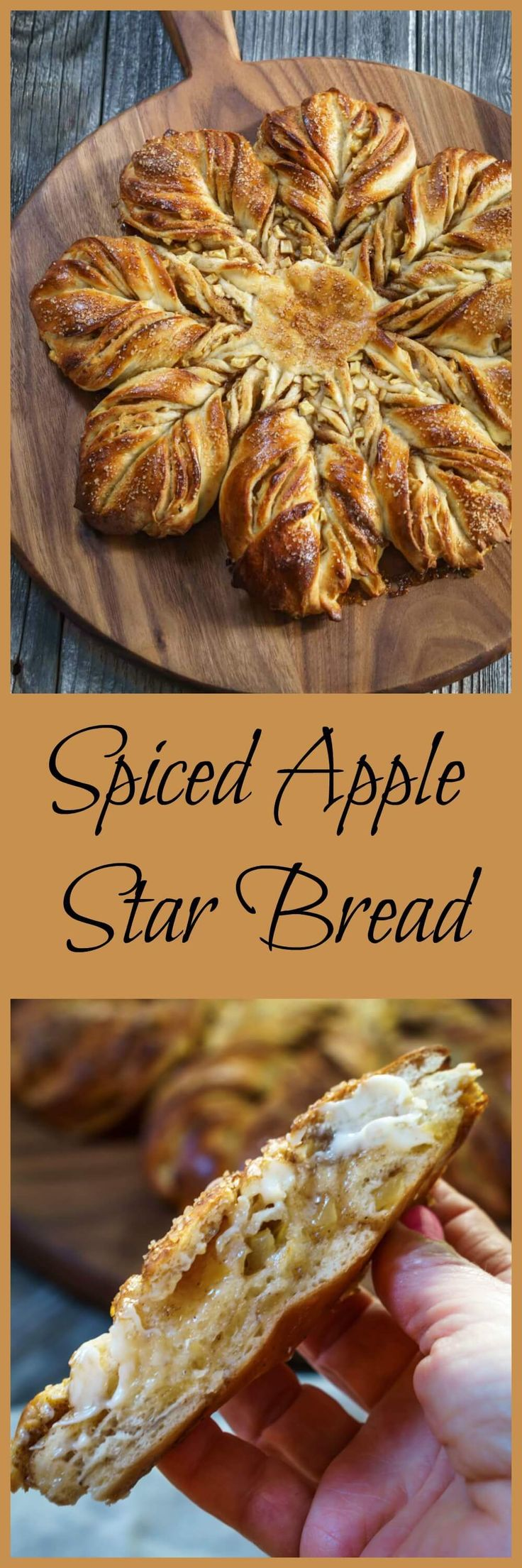 Spiced Apple Star Bread is so good you can eat it with a meal or as a dessert. It's a sweetened buttery, bread that's tender and warm from the fall spices. This bread looks hard to make, but it's easier than you think. | HostessAtHeart.com