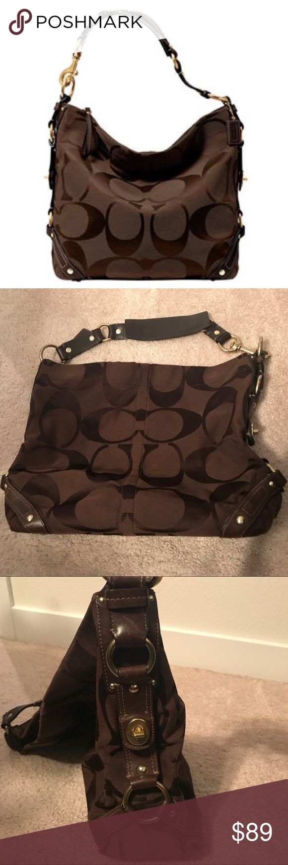 Coach Carly Large Brown Bag Gorgeous Coach Carly bag! Used only a handful of times. It has a very minor bit of natural wear that you can see in the pictures along the very top edge, just from use. Happy to send a more detailed pic if requested! Beautiful bag! Coach Bags Shoulder Bags