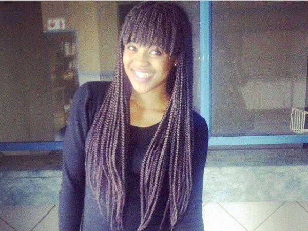 box braids with bangs - black hair
