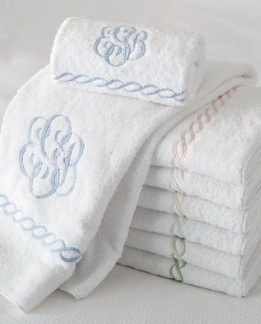 Beautiful bath towels with monogram! Each towel sets has our own initials on them. For our own bathrooms.