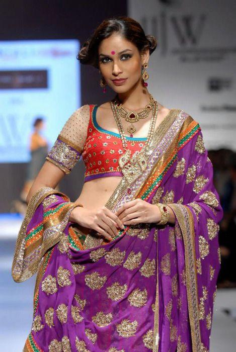 Purple & Gold Sari w/ Red Choli