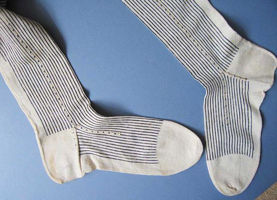 Antique Edwardian Stockings Black and White Pin-stripe Design