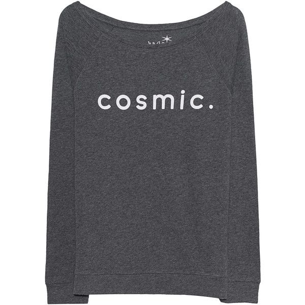 JUVIA Cosmic Print Anthracite // Cashmere mix sweatshirt found on Polyvore featuring tops, hoodies, sweatshirts, boat neck sweatshirt, long sleeve tops, galaxy top, nebula sweatshirt and galaxy print sweatshirt