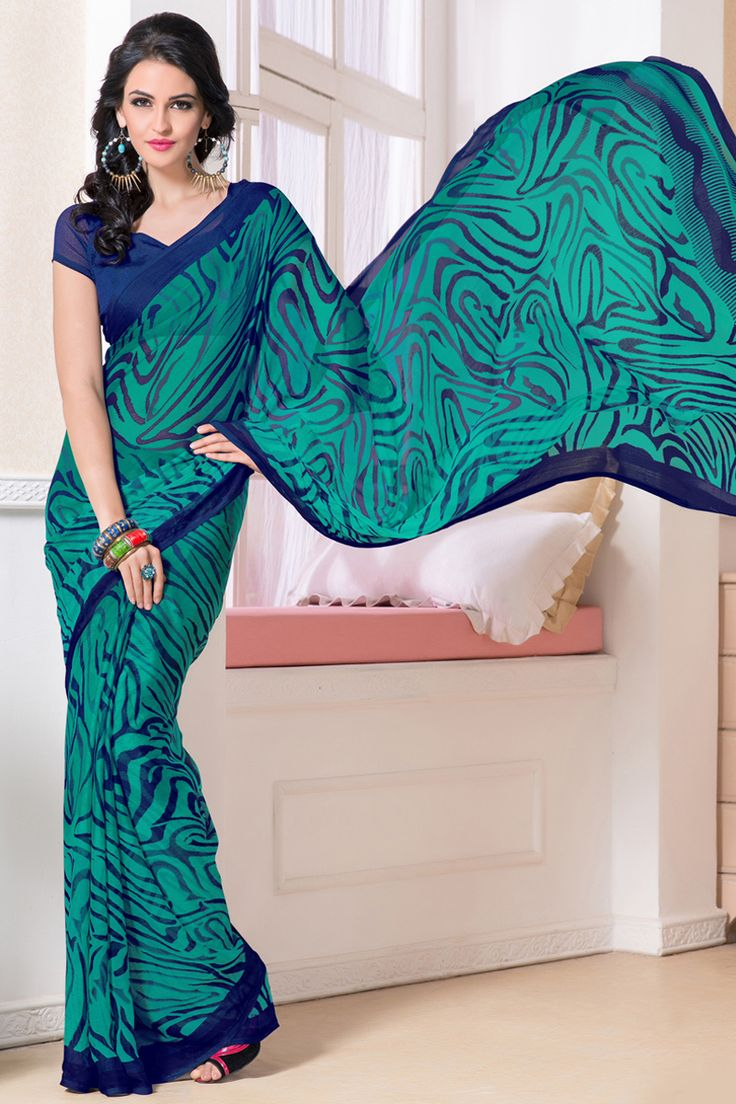 Green casual printed saree online from skysarees