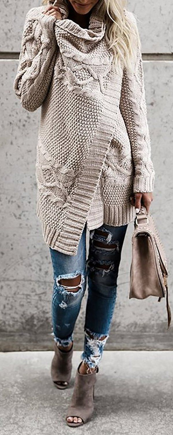 a cable knit cardi that comes in nude mixed with ripped jeans and some beige details #omgoutfitideas #styleinspiration #women