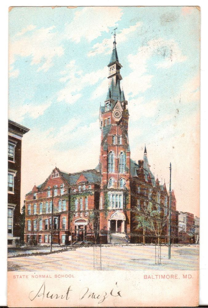 1906 Postmarked Postcard State Normal School Baltimore Maryland MD Glitter