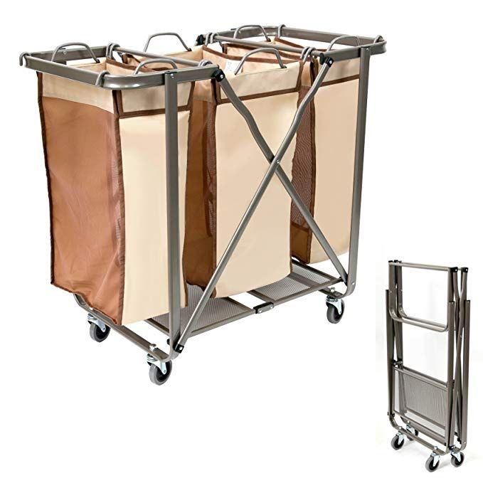 Seina Heavy Duty Foldable Laundry Sorter With Removable Odor Resistant Bags Use No Assembly Required Folds Flat For Easy Storage Super Smooth Glide Wheels Br Laundry Sorter Laundry Simple Storage