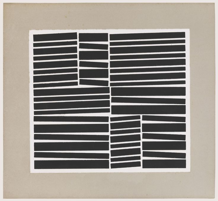 Hélio Oiticica – Metaesquema Numero 191, 1958. Draw through cutting out simple shapes from black sugar paper and arranging into a composition like in this print