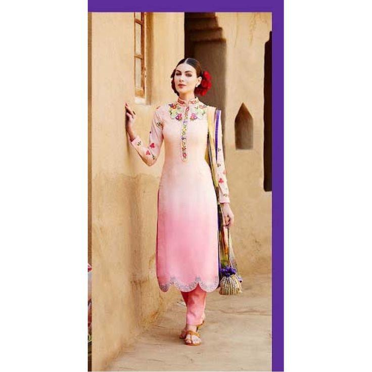 Baby Pink Designer Suit With Multicolor Dupatta