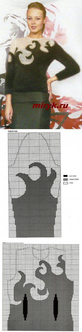 Жаккардовый пуловер «Snejann» спицами | вязание спицами схемы с описанием