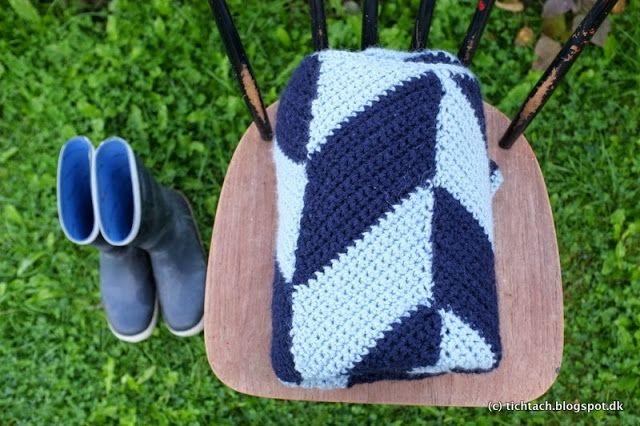 Crochet herringbone Plaid #tichtach