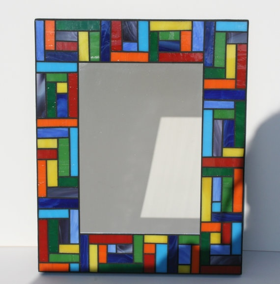 """This is a mosaic, but would look nice fused on black to get the """"leaded look"""" between the colored pieces."""