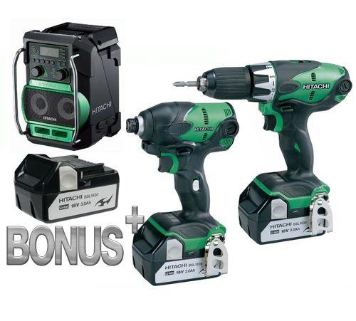 HITACHI 18v Cordless Impact Drill, Impact Driver & Radio Combo Kit-3 Batteries