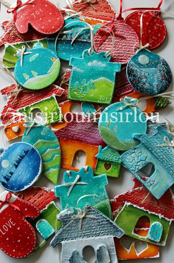 #christmasdecorations #christmasornament #christmastree #christmaseve  #christmascharms #mixedmediachristmas #clayornaments #christmasideas