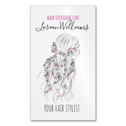 Bride Wavy hair floral wreath Hairstyling branding Magnetic Business Card - bridal gifts bride wedding marriage