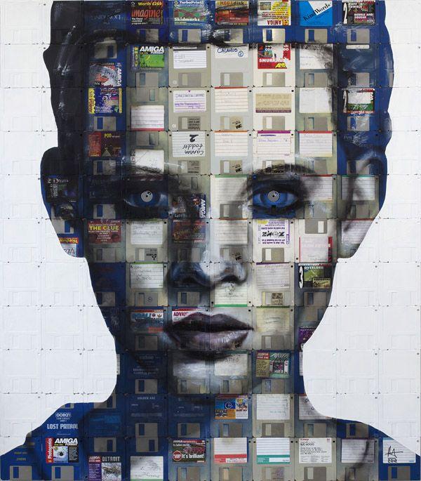interesting artDisks Portraits, Floppy Disks, Artists, Nickgentry, Nick Gentry, Art I Like, Floppy Disc, Painting, Recycle Art
