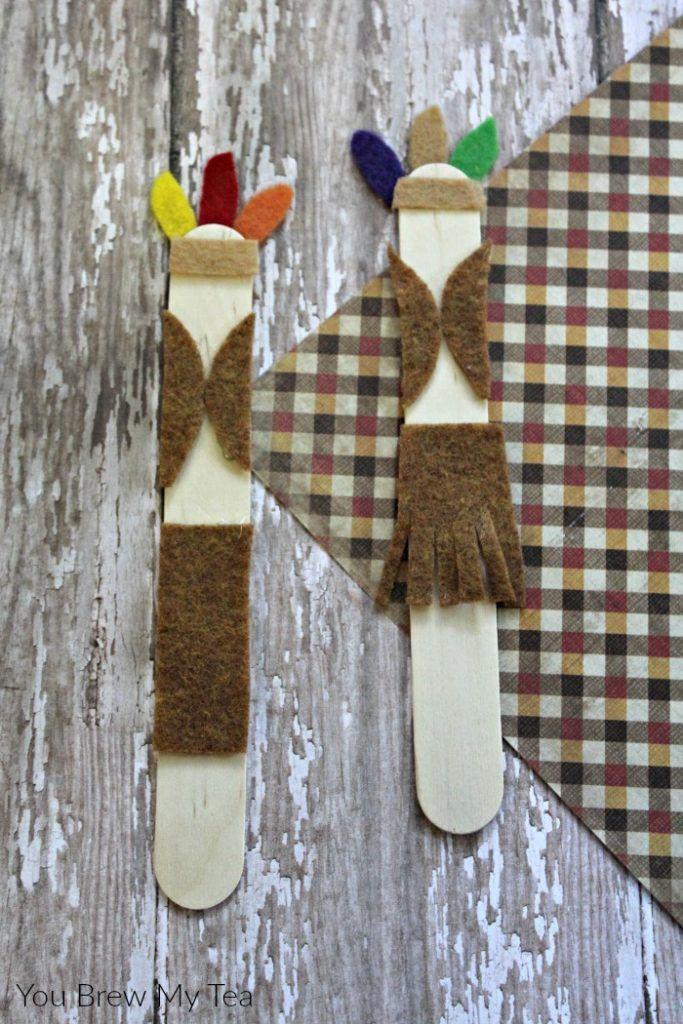 Wooden Craft Sticks Native American Dolls