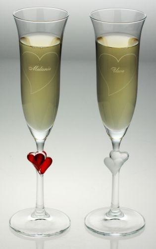 Hochzeitsgeschenk - Süße Herzchen Sektgläser mit Gravur