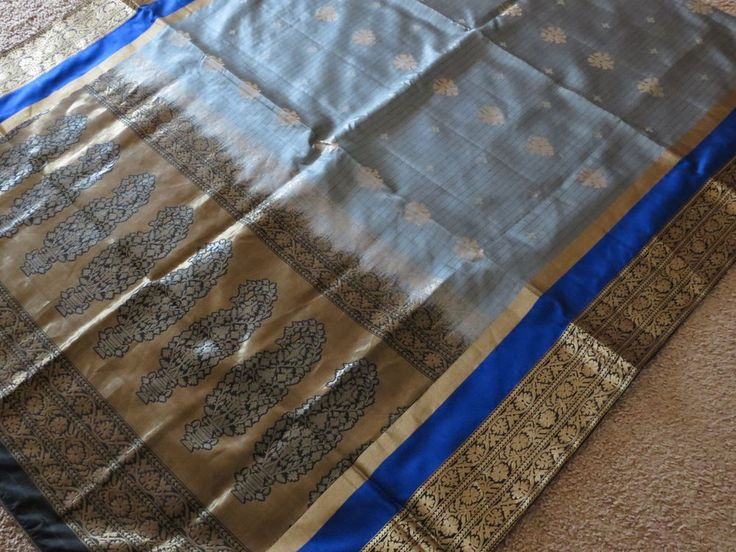 Blue & grey banarasi Handloom silk saree #Unbranded #Saree