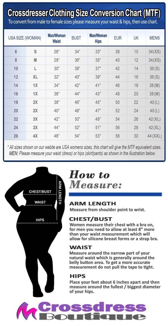 Crossdress Boutique - Crossdresser Clothing Size Guide Conversion Chart MTF