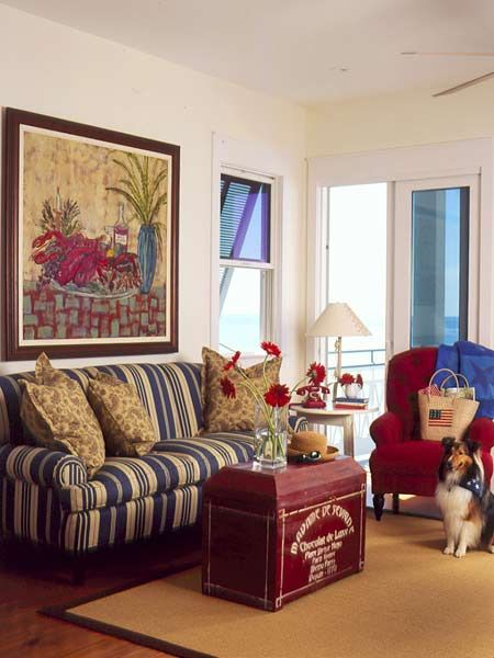 A Living Room In Red White And Blue Colors Pinterest