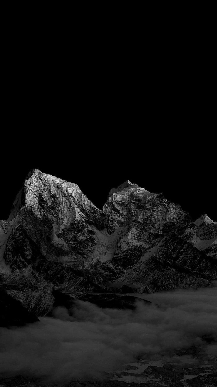 Mountains 1440 X 2560 Black Wallpaper Iphone Dark Black Phone
