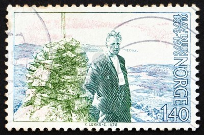 NORWAY - CIRCA 1976: a stamp printed in the Norway shows Olav Duun, novelist, circa 1976