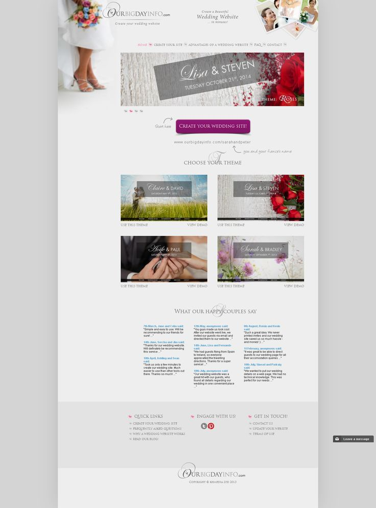 How to create a wedding website. 1) Visit this page. 2) Select your wedding website theme 3) Popular with your wedding info. Done!
