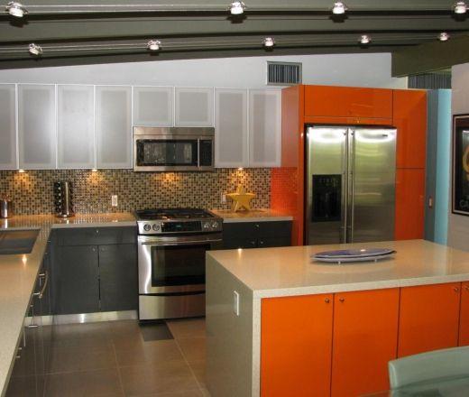 modern island style green kitchen orange cabinets 50000 100000 steve shinn brett hobza phoenix kitchens pinterest mid century modern kitchen - Mid Century Modern Kitchen Update