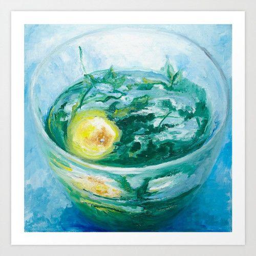 Sun In a Cup www.artoutloop.com #oil, #painting, #art, #cap, #tea, #mint, #lemon, #green